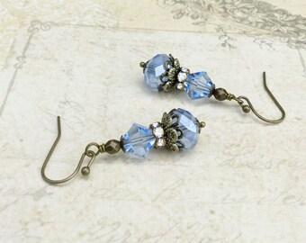 Sapphire Earrings, Blue Earrings, Victorian Earrings, Light Blue Earrings, Czech Glass Beads, Bridal Earrings, Blue Gold Earrings, Gifts