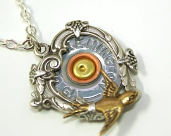 Steampunk Heart Necklace Bullet Necklace Ammo Necklace Bullet Jewelry