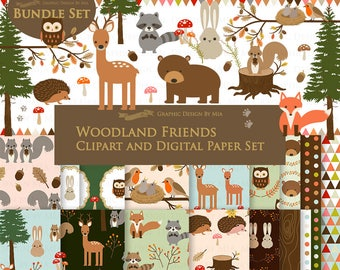 Woodland Friends, Woodland Animals, Forest Friends, Woodland Digital Paper Pack, Camping Clip Art + Digital Paper Set - Instant Download