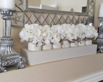 farmhouse home decor mason jar centerpiece custom planter box farmhouse chic decor