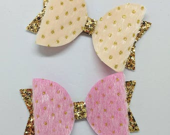 """Pink or Ivory Faux Fur Hair bow-Toddler Hair Bow-Alligator Clip-Baby Headband-Photo Prop-Chunky Glitter-Faux Fur-3.5"""" hair bow"""