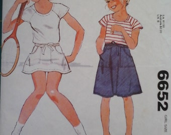 McCall's 6652 Girls Wrap Skirt and T-Shirt Vintage Pattern, size 10