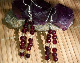 Garnet Dangle Earrings with Citrine