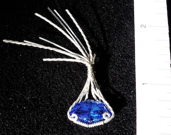 Blowin' in the Wind   Syn Blue Spinel 7.75ct Pendant Wrapped in Sterling SIlver