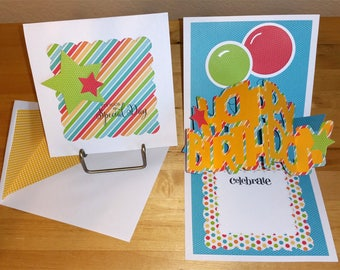 Birthday, Card, 3-D, Rainbow, Pop-Up, Primary, Pop Up, BDay, Bright, Handmade, Balloons, Cut-out, Stars, Kids, 3D