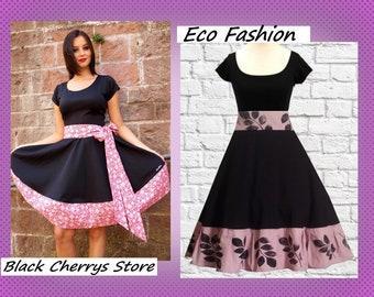 S M L XL Dress Wedding handprint Retro Vintage Swing Petticoat Dress Black Cherrys Store