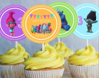 TROLLS EDITABLE Cupcake Toppers Favor Tags, Instant Downloand, Poppy, Branch, Group,  Edit with name and age, rainbow colors, edit at home