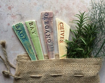 Superieur 4 Ceramic Garden Marker Herb Mix Gift Bag (Ready To Ship)