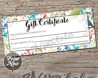 Watercolor makeup printable gift certificate template spring floral bird printable gift certificate template spring direct sales photography gift voucher yadclub Choice Image