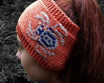KNITTING PATTERN in PDF, Spooky Spider Earwarmer Headband for Halloween, Halloween pattern, Spider headband, ear warmer, Instant download