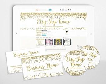 Etsy Shop Branding - Branding Packages - Etsy Shop Branding - Etsy Shop Covers - Gold Shop Cover - Advance Startup - Gold Glitter