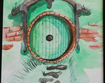The green door 4 x 6 postcard watercolor painting Pack of 5