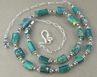 "STUNNING teal blue green ancient Roman glass sterling adjustable 16.5"" to 19.5"" necklace FREE SHIPPING ooak"