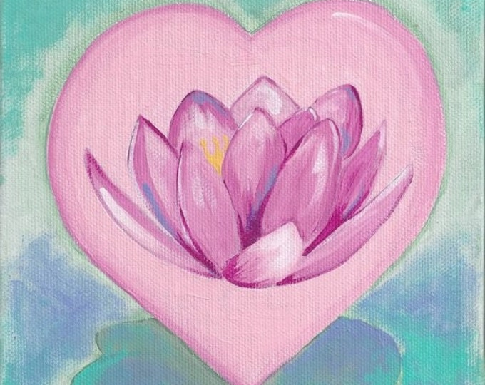 Lotus Flower Heart greeting card