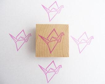 Tampon en gomme, motif grue origami, gravé à la main