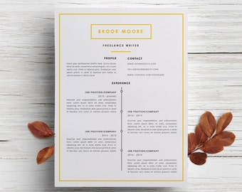 Beautiful Resume Template + Cover Letter Template For Word | DIY Printable 3 Page |  Design Ideas