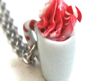 Candy Cane White Hot Chocolate Necklace- candy cane, coffee necklace, mocha necklace, holiday necklace