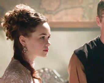 "As Seen on Reign   Rose Gold Pearl Bridal Earrings   Handmade Lace Floral Hoop Earrings   Woodland Spring Wedding ""Anthea"""