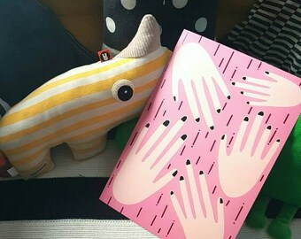 A4 gentle hands digital illustration pink hone decor wall art