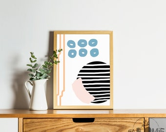 Sublimation III, Illustration, MCM art, MCM poster, retro art, retro poster, modern art, minimalist, abstract art, abstract illustration