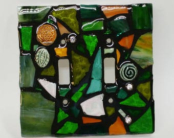 GREEN and Amber mix - STAINED Glass MOSAIC Light Switch Cover - single, double, triple, outlet, or decora gfci - made to order