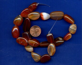 "15"" Strand of Red Agate Pebble Beads-Lot 2, 10mm to 17mm"