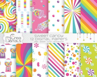 Sweet candy shop -  12 pink digital papers - INSTANT DOWNLOAD