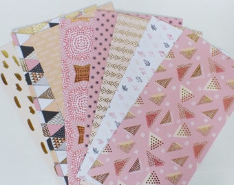 8 sheets of scrapbooking 30 x 15 cm - triangle pink / gold / black - set 4
