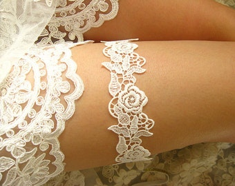 off white bridal garter , lace garter, wedding garter,  bride garter