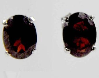 Natural Garnet Stud Earrings 925 Sterling Silver Prong Set Oval 8 MM x 6 MMemstone White Gold Plated Post Earrings January Birthstone