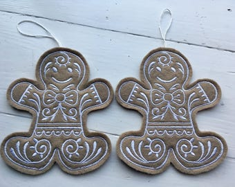 Gingerbread Man Embroidered Christmas Tree Decoration