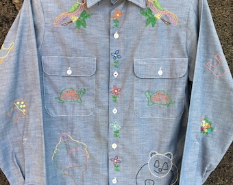 1970's Hand Embroidered Chambray Shirt