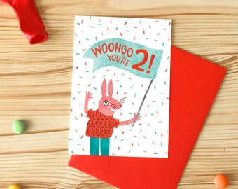 Woohoo You're 2! Greetings Card, Children's Illustrated Birthday Card, Rabbit Two Years Old Card