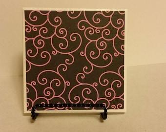 Pink swirl ceramic coasters