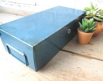 Small Metal Filebox or Toolbox Vintage Blue Tool Box