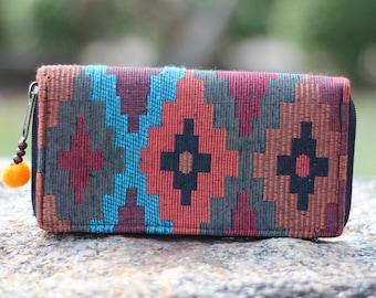 Native American Womens Wallet   Navajo Wallet   Tribal Wallet   Wallet    cute wallet   Vegan wallet   Clutch wallet   Purse  Vegan Purse