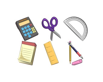 office supplies clip art school supplies clipart desk rh etsy com office supplies clipart black and white Office Clip Art