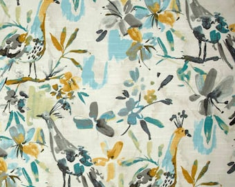 "Two 96"" x 50""  Custom Curtain Panels  -  Flora Flaunt Ripa - Bird - Pooll Blue  Grey"