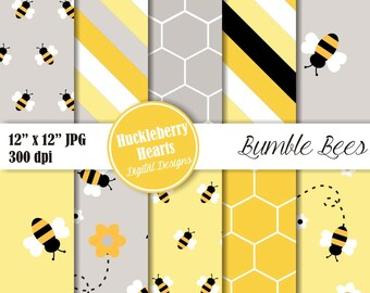 Bumble Bee Digital Paper, Bee Paper, Bumble Bees, Scrapbook Paper, Yellow and Black