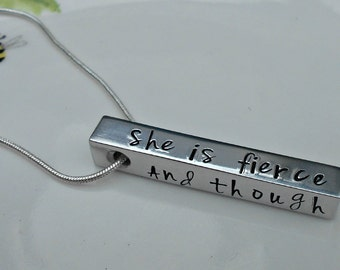 She be but Little, Shakespeare Quote Necklace - And though she be but little....She is Fierce.  Hand Stamped 4 Bar Pendant/Jewelry/Jewellery