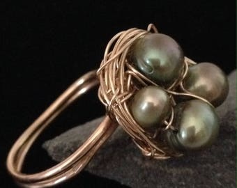 Gold Birds Nest Ring