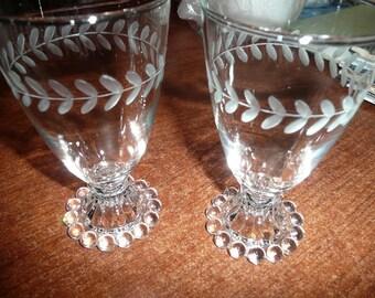 Vintage Anchor Hocking Boopie Glasses Etched Laurel Leaf