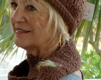 Brown winter hat and scarf set, unique handcrafted crochet hat and scarf set, women's winter accessories with style and class, creative hat