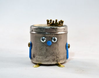 KC ROYALS Bot Thought: Little Robots with Secret Messages, Assemblage Art Recycled Robot Sculpture, Alternative Fortune Cookies