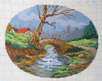 Vintage needlepoint gobelin, Embroidered gobelin,  landscape tapestry, Embroidered tapestry,paysage, vintage embroidery, needlepoint picture
