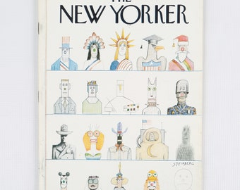 The New Yorker Magazine, Entire Publication Oct 20, 1975. Black, Polychrome, Classic Cartoonist Steinberg Cover. Average to Fair Condition.