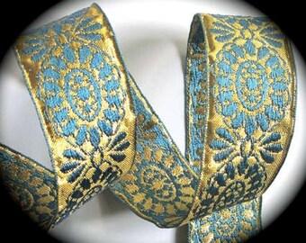 """Vintage Ribbon- 1 1/2"""" Vintage70 - Spun Rayon/Metallic - Japan Beautiful Vintage Blue and Gold"""
