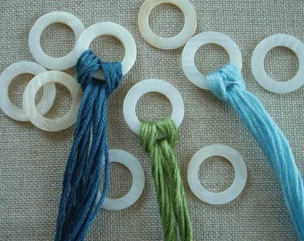 round THREAD RINGS mother of pearl embroidery floss organizer or storage
