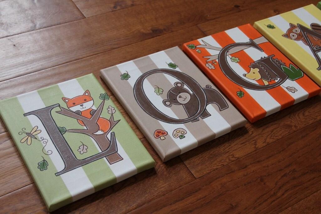 8 x 10 Letter Name Owls Hedgehog Woodland