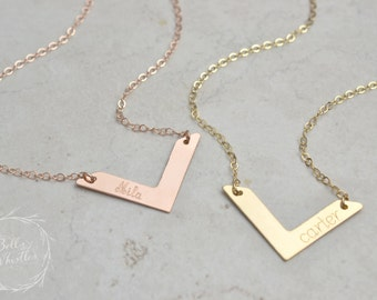 Personalized Chevron Necklace / Gold, Silver, Rose Gold / Custom Name Necklace Handstamped Initial / Bridesmaid necklace